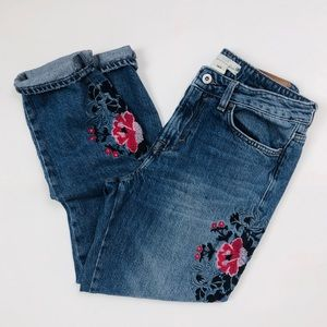 H&M Embroidered Distressed Boyfriend Jeans